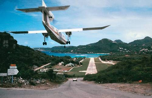 Aeroplane Barts Caribbean Flying Landing Runway St