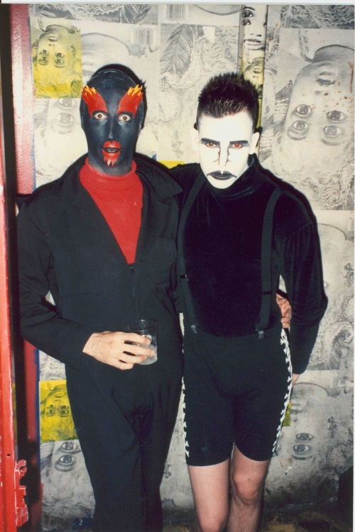 Club kids Keda, left, and Sacred Boy at the Limelight nightclub, 1992.